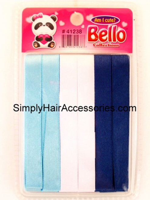 Bello Girls Hair Ribbons - Light Blue, White & Royal Blue  - 6 Pcs.