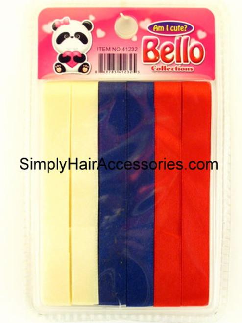 Bello Girls Hair Ribbons - Ivory, Navy & Red  - 6 Pcs.