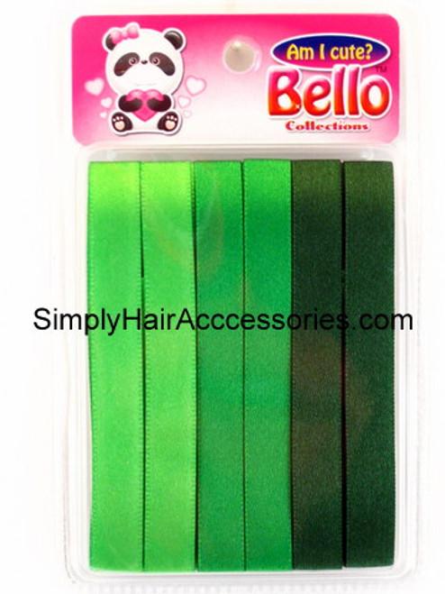 Bello Girls Hair Ribbons - Shades of Green  - 6 Pcs.