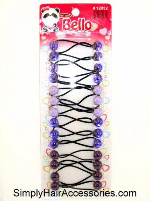 Bello Twinbead Ponytail Elastics - Shades of Purple - 14 Pcs.