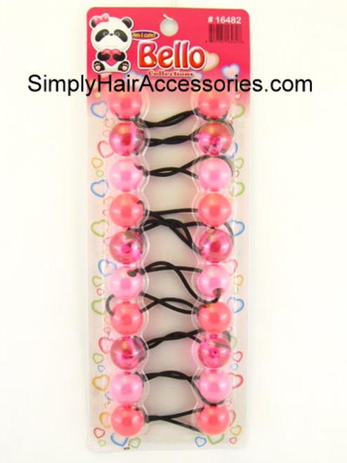 Bello Twinbead Ponytail Elastics - Shades of Pink - 10 Pcs.