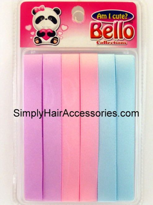 Bello Girls Hair Ribbons - Purple, Pink, Blue  - 6 Pcs.