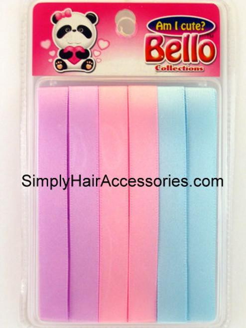 Bello Girls Hair Ribbons - Purple, Pink, Blue  - 6 Pcs.