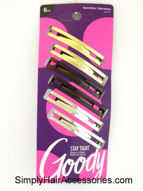 Goody Staytight Double Bar Metal Hair Barrettes - 6 Pcs.