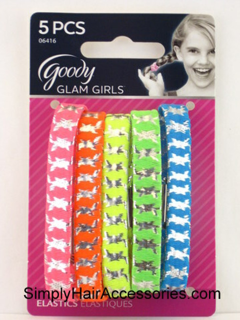 Goody Glam Girls Neon Pattern Elastics - 5 Pcs.