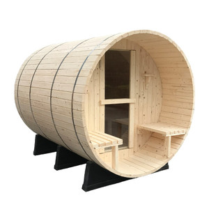 Pine Barrel Sauna with Porch - Outdoor Saunas - Redwood Outdoors. Enjoy the heat and steam in this classic Scandinavian barrel sauna, made from Finnish White pine. A front seating porch provide room to relax between sauna rounds
