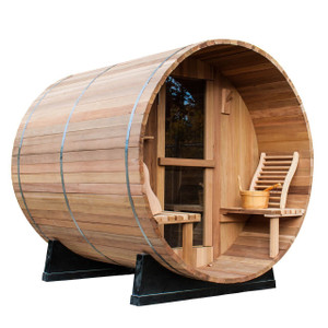 Redwood Outdoors - Cedar Barrel Sauna with Porch - Outdoor Sauna. The Cedar Barrel Sauna with Porch is one of our most popular models. This outdoor sauna can accommodate up to 6 people. We offer electric or wood stove heating options. We ship our saunas to everywhere in the United States.
