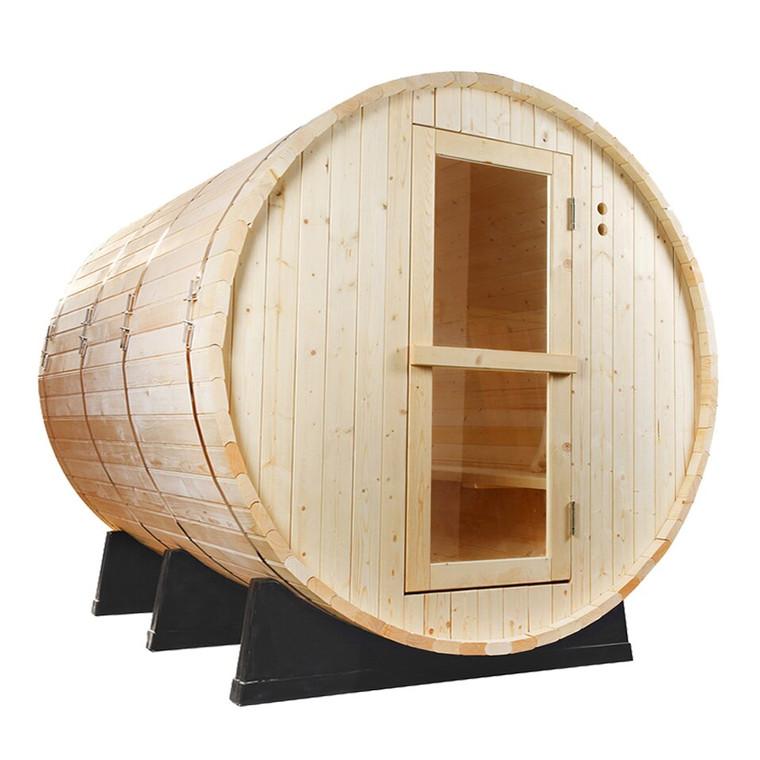 Pine Barrel Sauna - Outdoor Saunas - Redwood Outdoors. Enjoy the heat and steam in this classic Scandinavian barrel sauna, made from Finnish White pine
