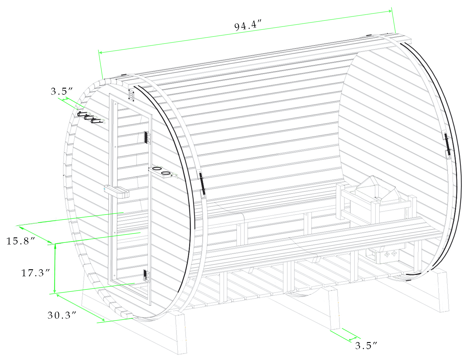 Black and white drawing with dimensions of 8 ft red cedar barrel sauna - 8 Person