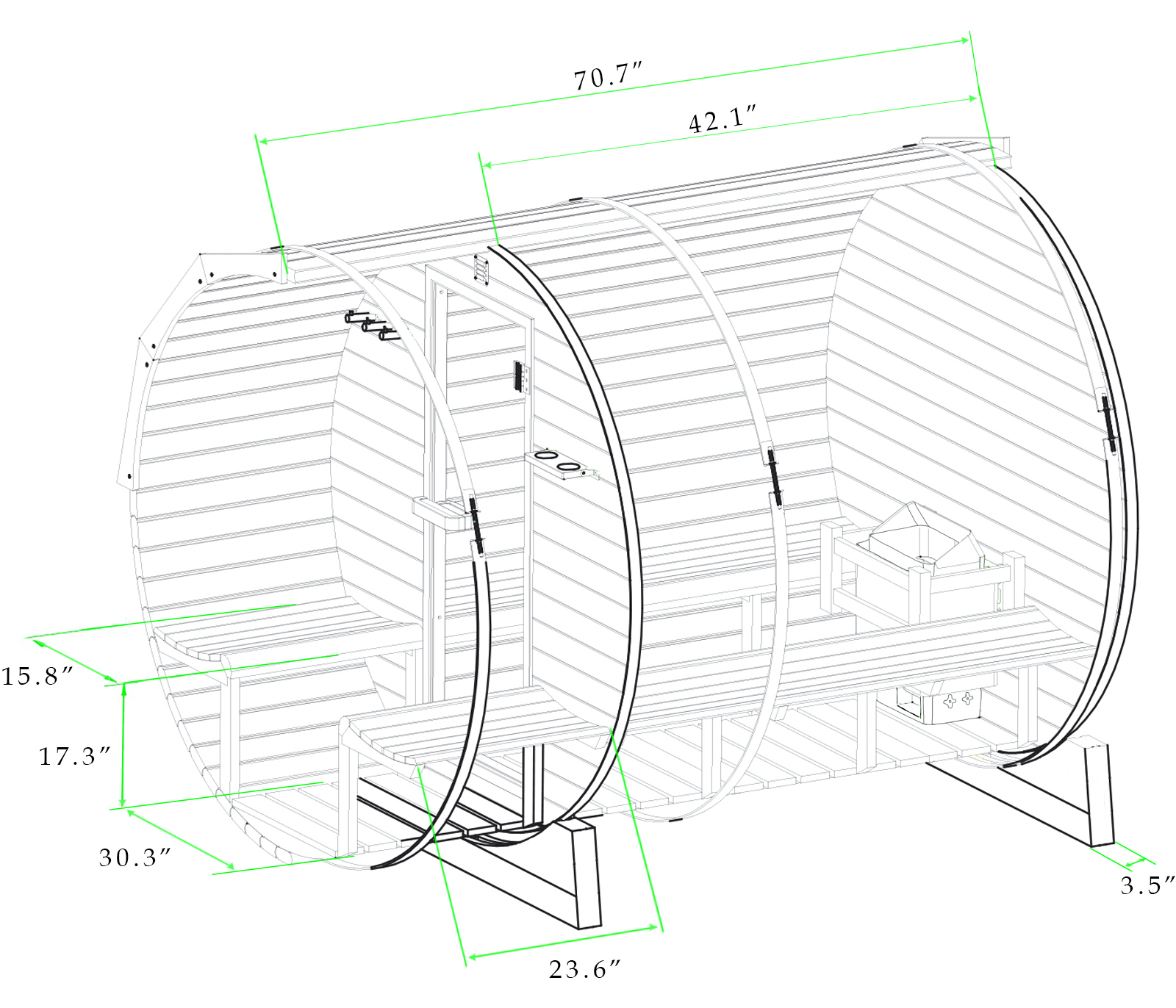 Black and white drawing with dimensions of 6 ft red cedar barrel sauna with porch - 4 Person