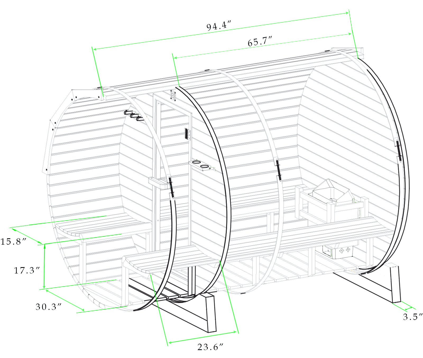 Black and white drawing with dimensions of 8 ft red cedar barrel sauna with porch - 6 person