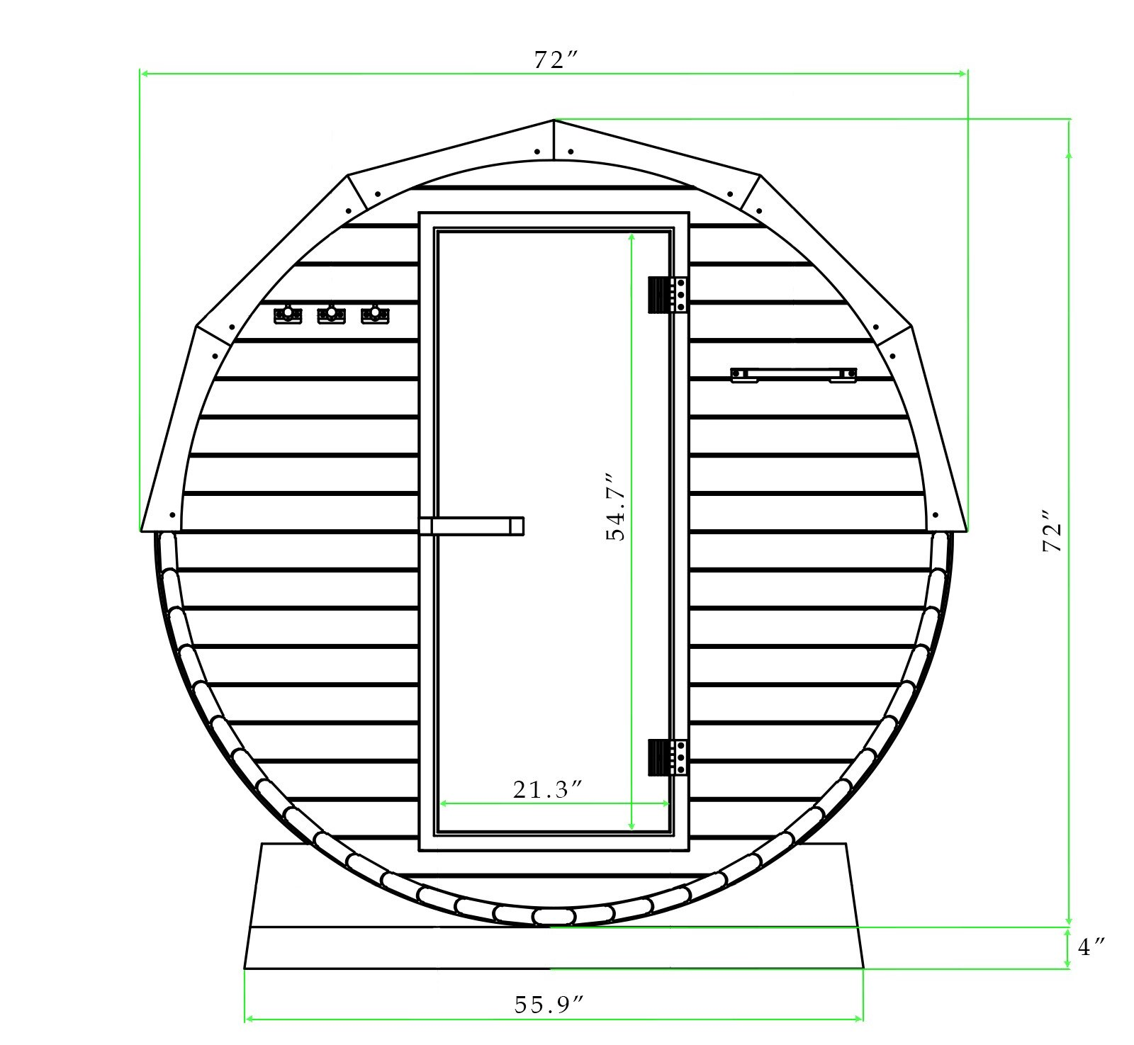 Black and white drawing with dimensions of 6 ft red cedar barrel sauna with porch - 4 Person (front view)