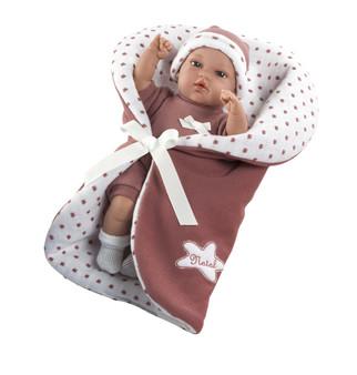Ann Lauren Dolls 13 Inch Baby Natal in Rose Colored Blanket