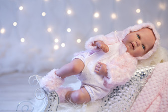 Ann Lauren Dolls Reborn Baby Girl Doll  with Pink Fur Outfit