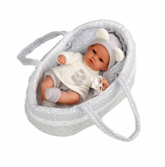 New Design for 2020 13 Inch Baby Dolls with Grey Bassinet