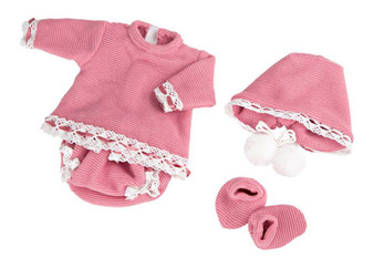 5 Piece Pink Outfit Fits 15.2 Bassinet Babies and 16 Inch Reborns