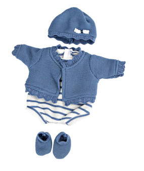 5 Piece Blue Outfit Fits 15.2 Inch Bassinet Babies and 16 Inch Reborn Dolls