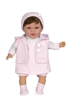 Ann Lauren Dolls 17 Inch Baby Doll with Pink Dress-Brunette