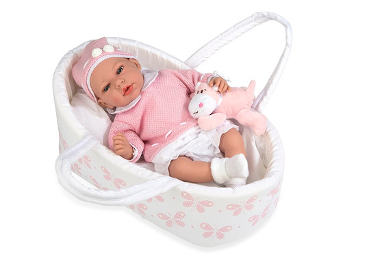 Ann Lauren Dolls 15.2 Inch Baby Doll with Butterfly Bassinet
