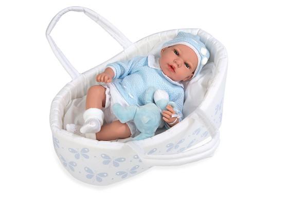 Ann Lauren Dolls 15.2 Inch Baby Doll with Butterfly Bassinet- Blue
