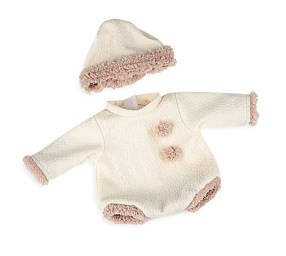 2 Piece Baby Doll Set In Ivory Fits 15.2 Bassinet Babies  and 16 Inch Reborn Baby Dolls