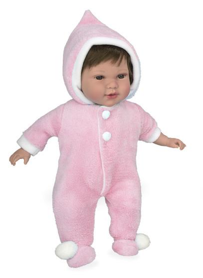 Ann Lauren Dolls 17 Inch Baby Doll with Pink Snowsuit-Brunette