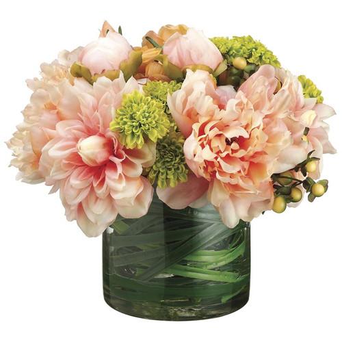"Dahlia Peony Rose Pompon Mum in Glass Vase 9"""