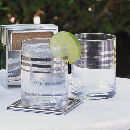 Platinum Banded Double Old Fashion Glasses