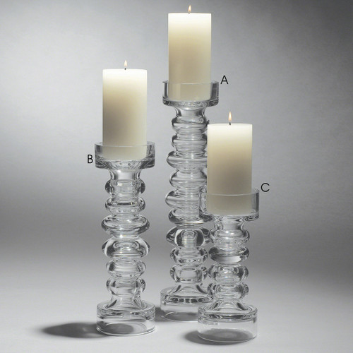 Glass Ribbed Candle Holder