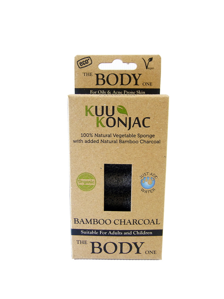 KUU Konjac 6 Wave Body Bamboo Charcoal Sponge