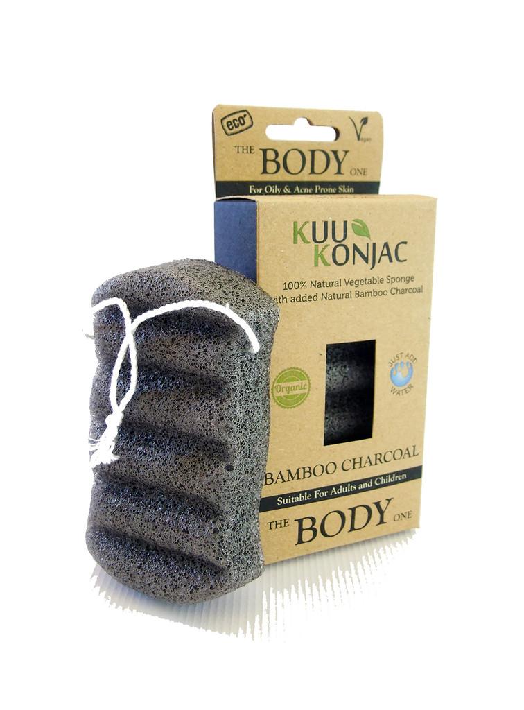 KUU Konjac 6 Wave Body Bamboo Charcoal Sponge