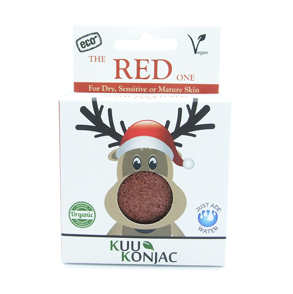Christmas Rudolph KUU Konjac Sponge with French Red Clay : Dry, Sensitive and/or Mature Skin