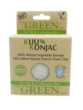 KUU Konjac Sponge with French Green Clay : Oily and Combination Skin Types