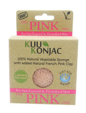 KUU Konjac Sponge with French Pink Clay : Tired, Devitalised or Sun Exposed Skin