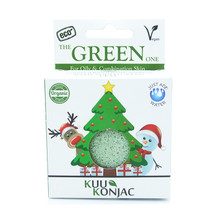 Christmas Tree KUU Konjac Sponge with French Green Clay : Oily and Combination Skin Types