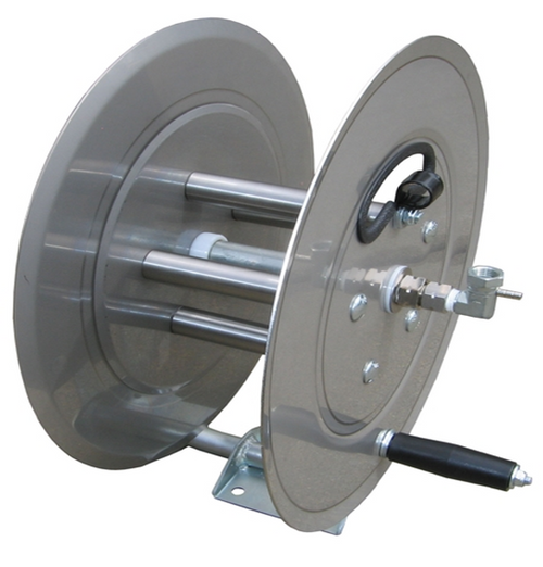 "100' Stainless Steel Hose Reel | 5000 PSI  | 3/8"" Plumbing"