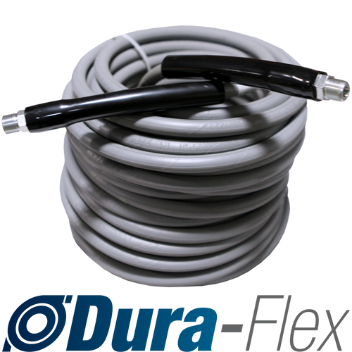 "100' of 3/8"" High Pressure Grey Non-Marking Dura-Flex Hose Solid/Swivel Ends 4000 PSI"