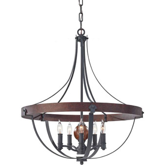 5 - Light Single Tier Chandelier,AF/CHARCOAL BRICK/ACORN,Chandelier,Feiss Lighting