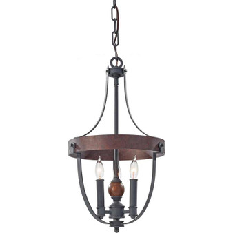 3 - Light Single Tier Chandelier,AF/CHARCOAL BRICK/ACORN,Chandelier,Feiss Lighting