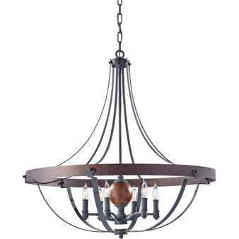 6 - Light Single Tier Chandelier,AF/CHARCOAL BRICK/ACORN,Chandelier,Feiss Lighting