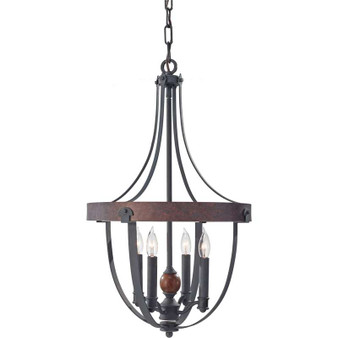 4 - Light Single Tier Chandelier,AF/CHARCOAL BRICK/ACORN,Chandelier,Feiss Lighting