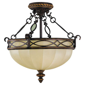 3 - Light Indoor Semi-Flush Mount,Walnut,Flush & Semi-Flush Mount,Feiss Lighting