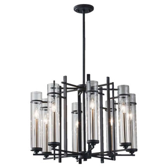 8 - Light Single Tier Chandelier,Antique Forged Iron / Brushed Steel,Chandelier,Feiss Lighting