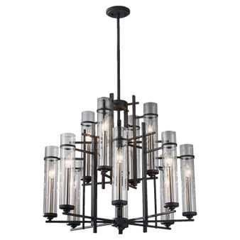 12 - Light Multi-Tier Chandelier,Antique Forged Iron / Brushed Steel,Chandelier,Feiss Lighting