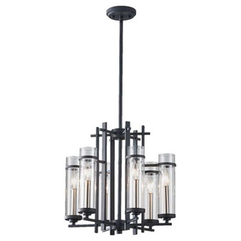 6 - Light Single Tier Chandelier,Antique Forged Iron / Brushed Steel,Chandelier,Feiss Lighting
