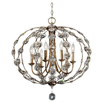 6-Light Chandelier,Burnished Silver,Chandelier,Feiss Lighting