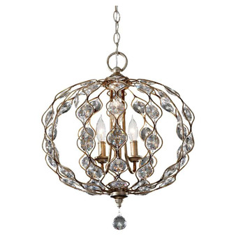 3-Light Chandelier,Burnished Silver,Chandelier,Feiss Lighting