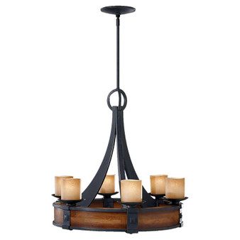 6 - Light Single Tier Chandelier,Antique Forged Iron / Aged Walnut,Chandelier,Feiss Lighting