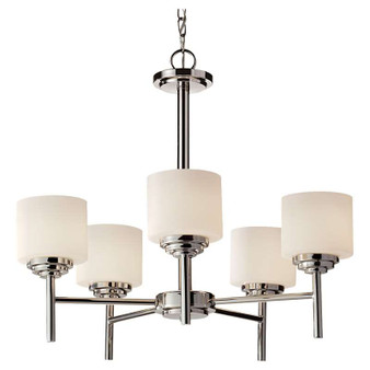 5 - Light Single Tier Chandelier,Polished Nickel,Chandelier,Feiss Lighting