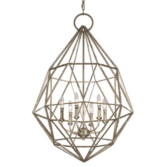 6 - Light Marquise Chandelier,Burnished Silver,Chandelier,Feiss Lighting